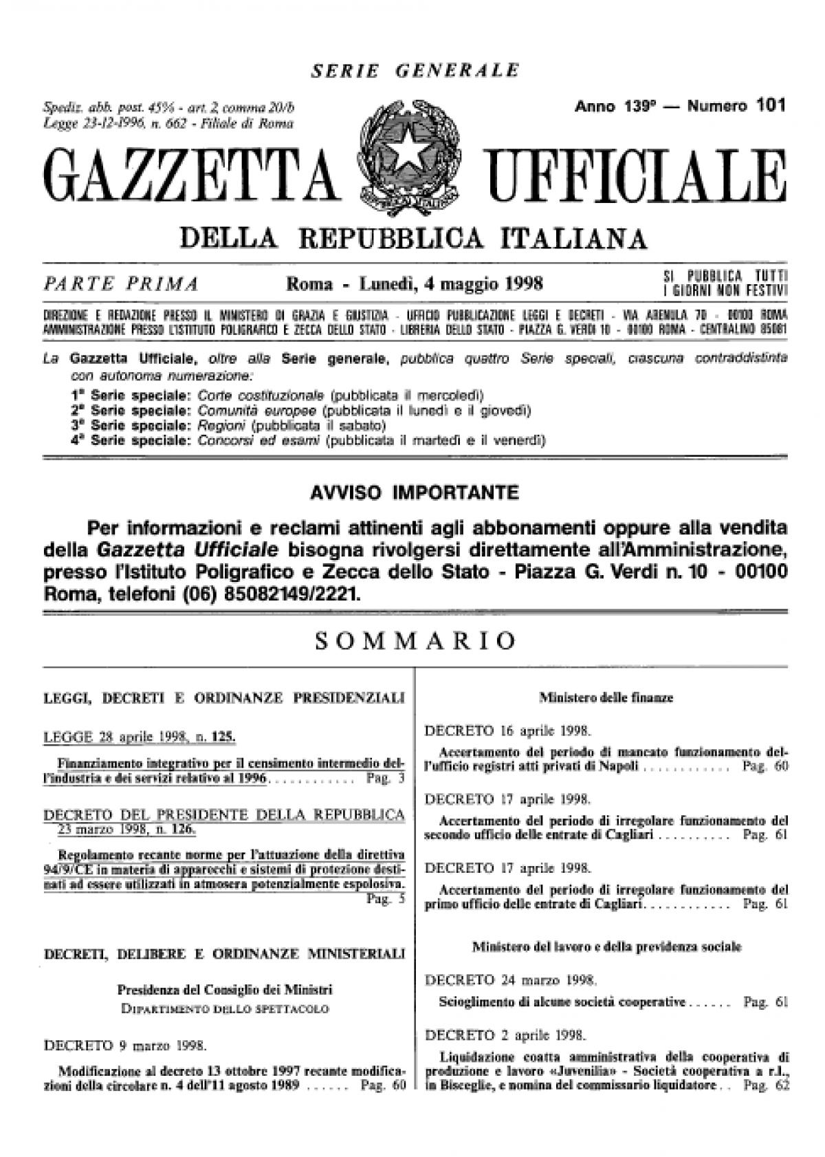 Bibliotema decreto del presidente della repubblica 23 for Decreto presidente della repubblica